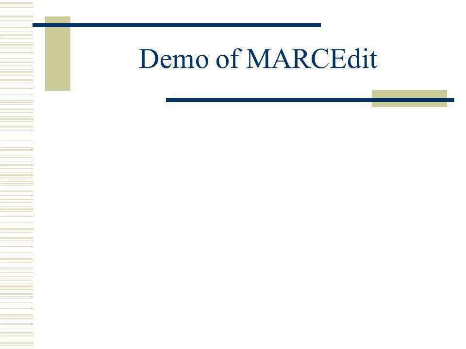 Demo of MARCEdit