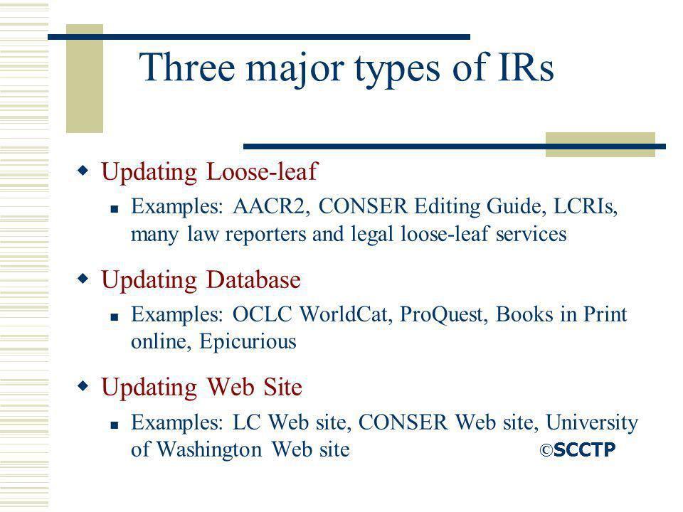 Three major types of IRs Updating Loose-leaf Examples: AACR2, CONSER Editing Guide, LCRIs, many law reporters and legal loose-leaf services Updating D