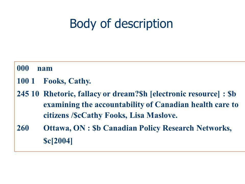 Body of description 000 nam 100 1 Fooks, Cathy. 245 10 Rhetoric, fallacy or dream?$h [electronic resource] : $b examining the accountability of Canadi