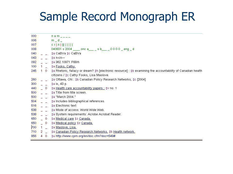 Sample Record Monograph ER