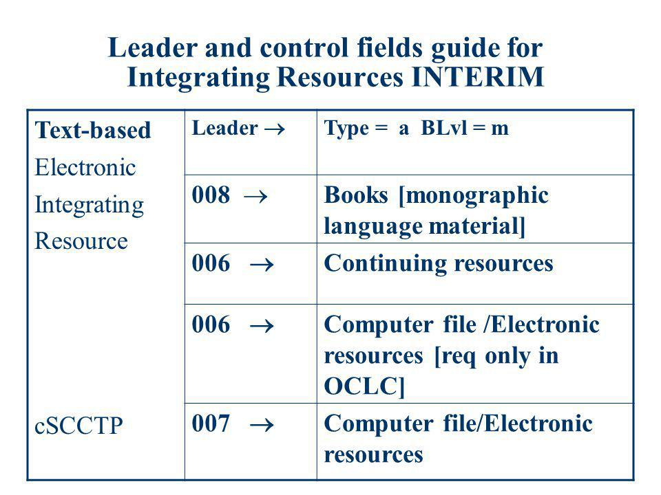 Leader and control fields guide for Integrating Resources INTERIM Text-based Electronic Integrating Resource cSCCTP Leader Type = a BLvl = m 008 Books