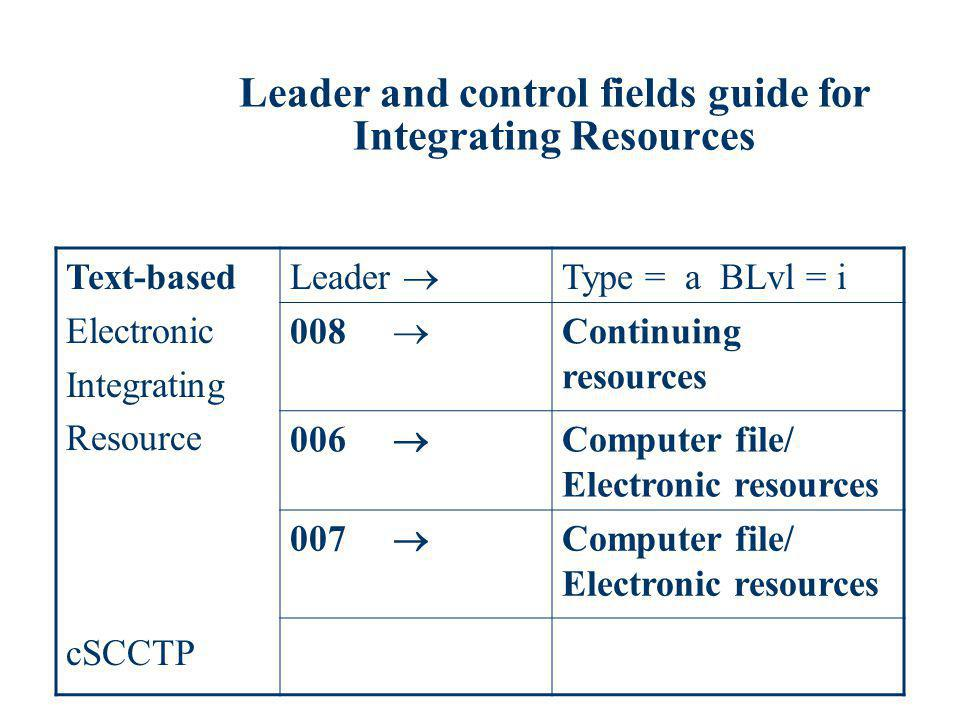 Leader and control fields guide for Integrating Resources Text-based Electronic Integrating Resource cSCCTP Leader Type = a BLvl = i 008 Continuing re