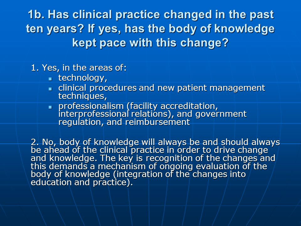 1b. Has clinical practice changed in the past ten years.