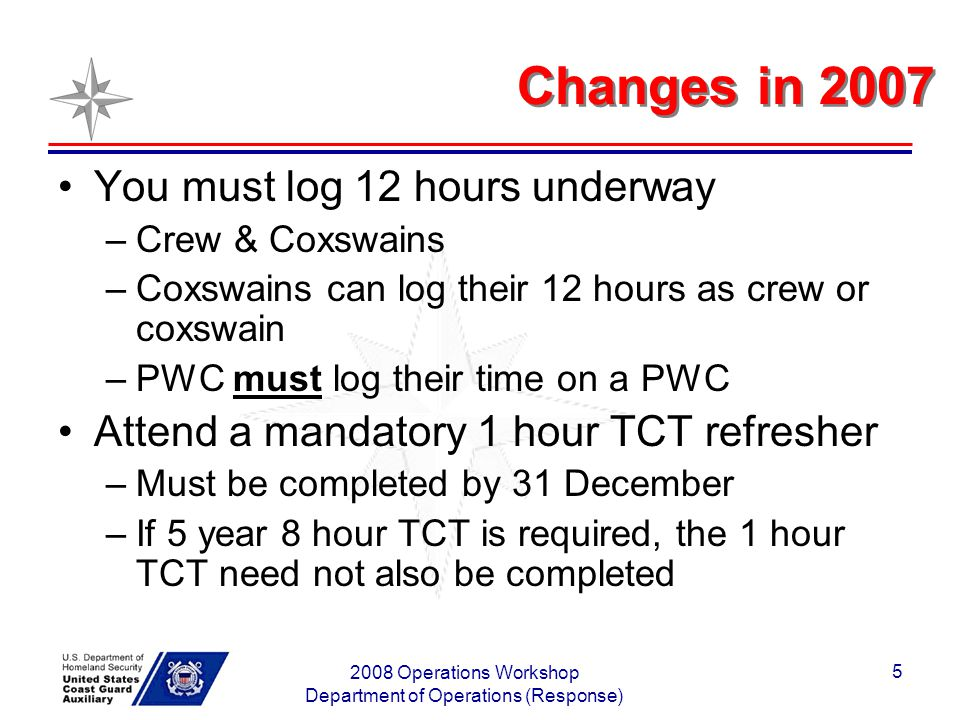 2008 Operations Workshop Department of Operations (Response) 5 Changes in 2007 You must log 12 hours underway –Crew & Coxswains –Coxswains can log their 12 hours as crew or coxswain –PWC must log their time on a PWC Attend a mandatory 1 hour TCT refresher –Must be completed by 31 December –If 5 year 8 hour TCT is required, the 1 hour TCT need not also be completed
