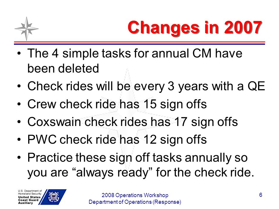 2008 Operations Workshop Department of Operations (Response) 7 Check Ride phase in Last Check ride in 2004- you are due in 2008 Last check ride in 2005 or 2006 - you are due in 2009