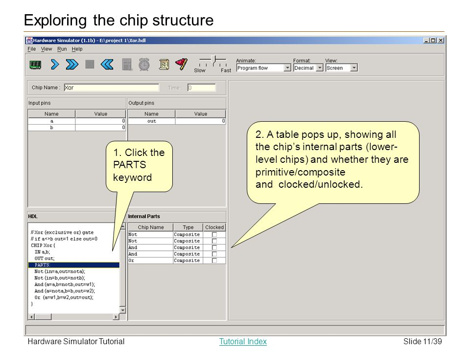 Slide 11/39Hardware Simulator TutorialTutorial Index Exploring the chip structure 1. Click the PARTS keyword 2. A table pops up, showing all the chips