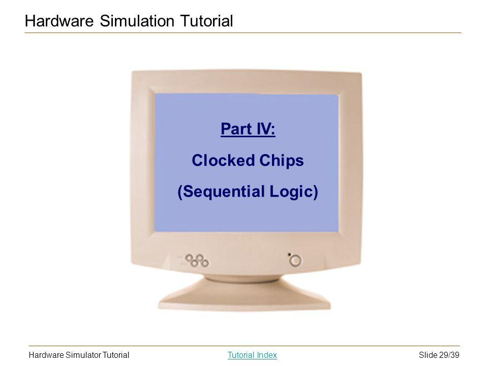 Slide 29/39Hardware Simulator TutorialTutorial Index Hardware Simulation Tutorial Part IV: Clocked Chips (Sequential Logic)