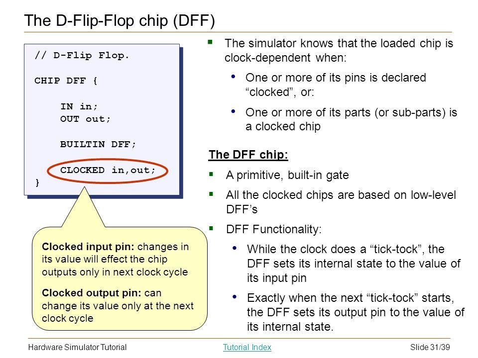 Slide 31/39Hardware Simulator TutorialTutorial Index The D-Flip-Flop chip (DFF) // D-Flip Flop. CHIP DFF { IN in; OUT out; BUILTIN DFF; CLOCKED in,out