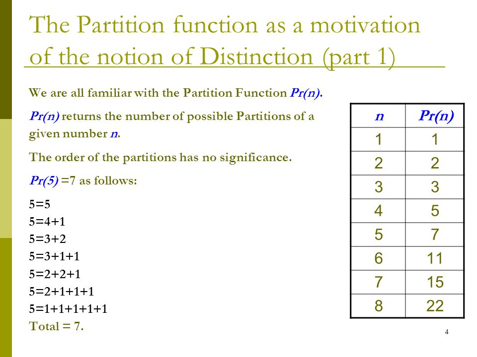 4 The Partition function as a motivation of the notion of Distinction (part 1) We are all familiar with the Partition Function Pr(n).