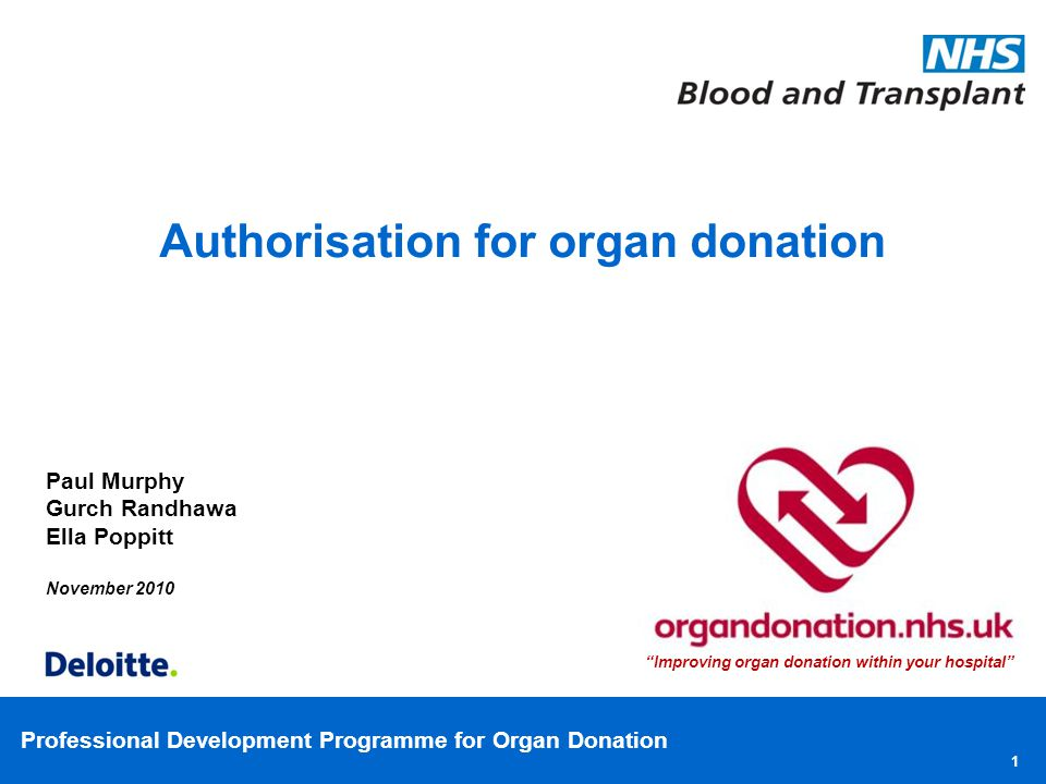 Professional Development Programme for Organ Donation 1 Paul Murphy Gurch Randhawa Ella Poppitt November 2010 Authorisation for organ donation Improvi