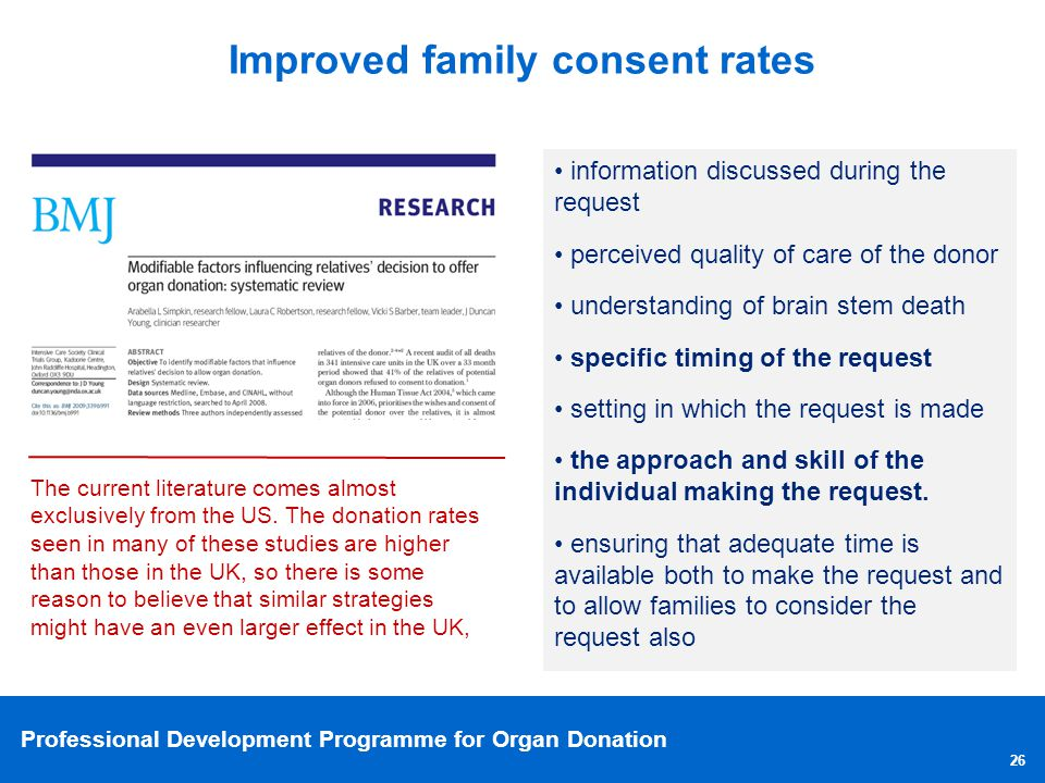 Professional Development Programme for Organ Donation 26 Improved family consent rates information discussed during the request perceived quality of c