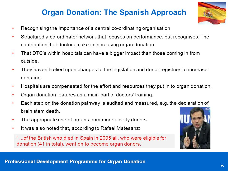 Professional Development Programme for Organ Donation 35 Organ Donation: The Spanish Approach Recognising the importance of a central co-ordinating or