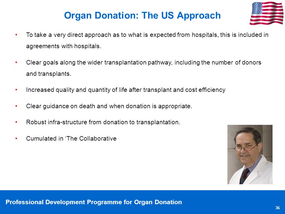 Professional Development Programme for Organ Donation 36 Organ Donation: The US Approach To take a very direct approach as to what is expected from ho