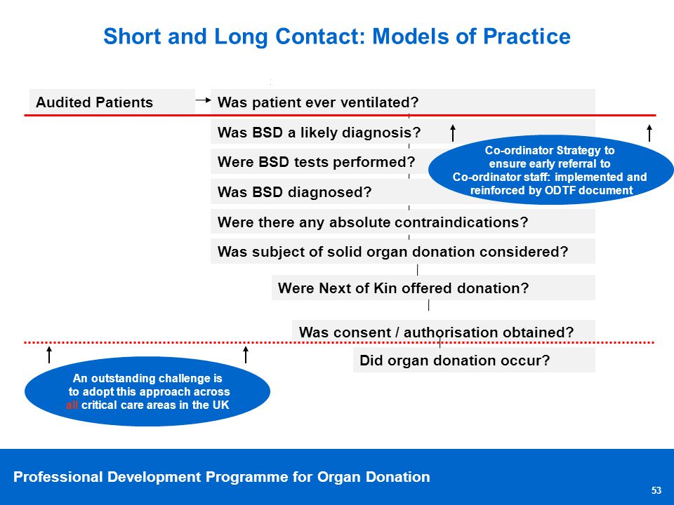 Professional Development Programme for Organ Donation 53 Audited Patients Was patient ever ventilated? Was BSD a likely diagnosis? Were BSD tests perf