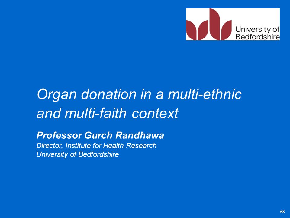 Organ donation in a multi-ethnic and multi-faith context Professor Gurch Randhawa Director, Institute for Health Research University of Bedfordshire 6