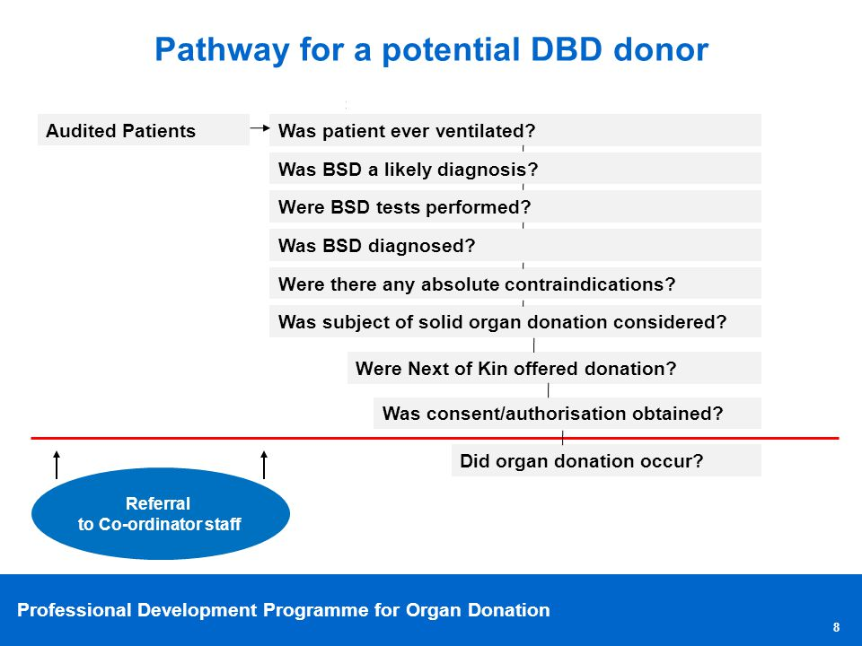 Professional Development Programme for Organ Donation 8 Pathway for a potential DBD donor Audited Patients Was patient ever ventilated? Was BSD a like