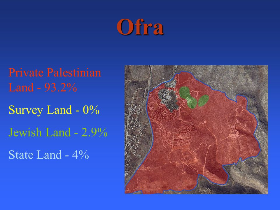 Ofra Private Palestinian Land - 93.2% Survey Land - 0% Jewish Land - 2.9% State Land - 4 %