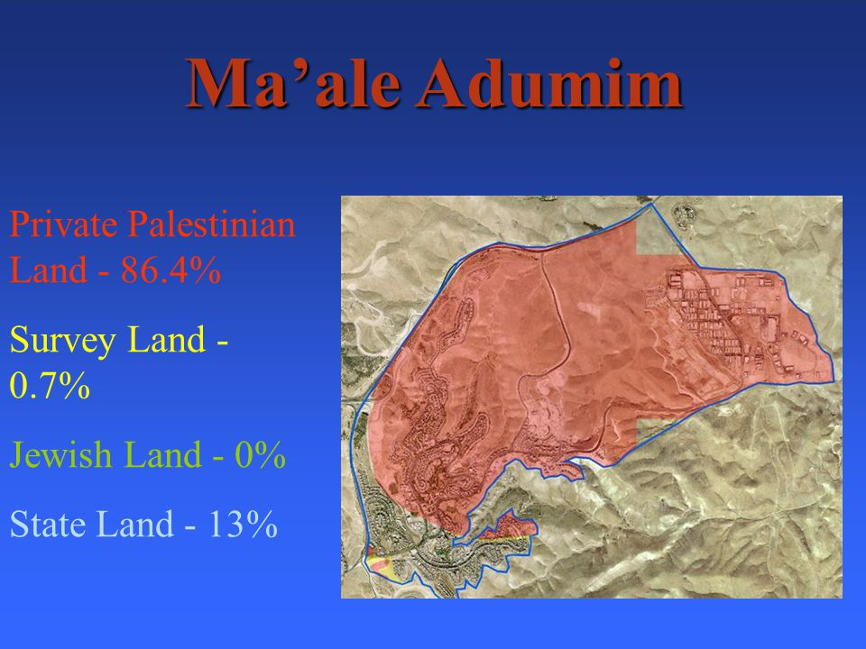 Maale Adumim Private Palestinian Land - 86.4% Survey Land - 0.7% Jewish Land - 0% State Land - 13%