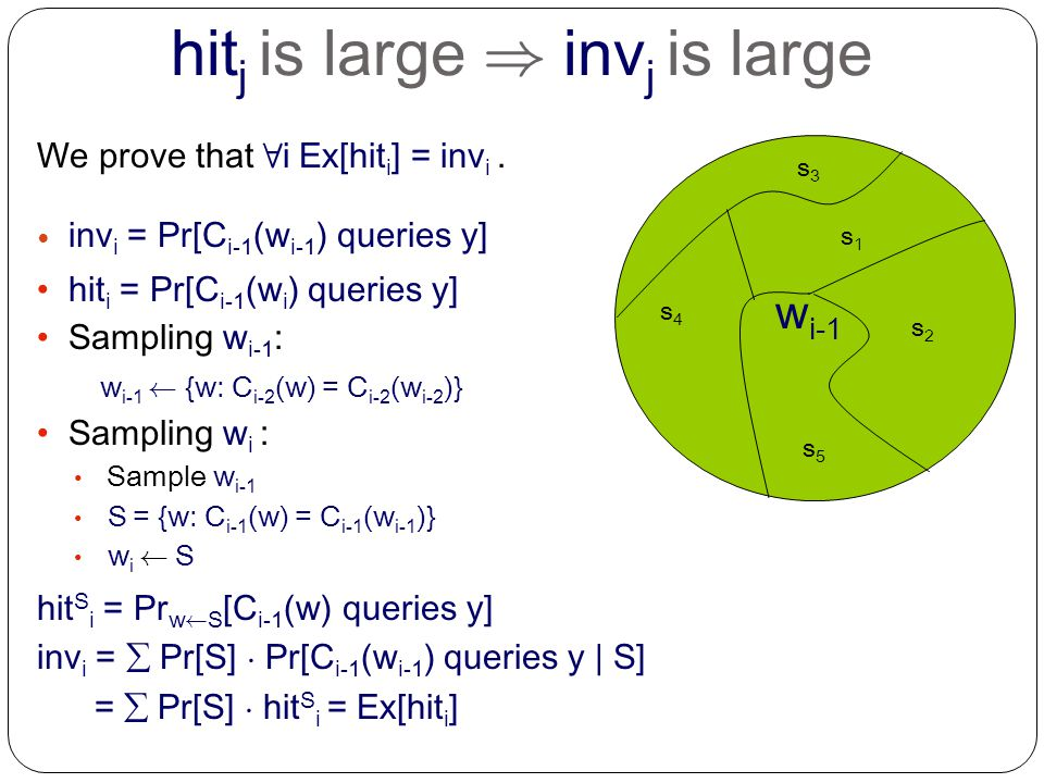 s5s5 s1s1 s2s2 s4s4 s3s3 hit j is large ) inv j is large We prove that 8 i Ex[hit i ] = inv i.