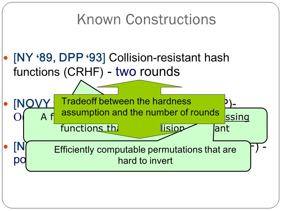 Known Constructions [NY 89, DPP 93] Collision-resistant hash functions (CRHF) - two rounds [NOVY 91] One-way permutations (OWP)- (n/log(n)) rounds * [