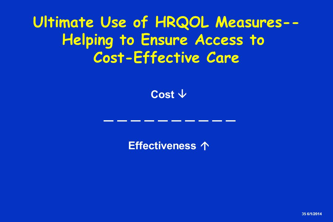 35 6/1/2014 Ultimate Use of HRQOL Measures-- Helping to Ensure Access to Cost-Effective Care Cost Effectiveness