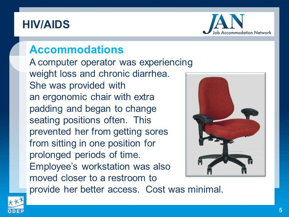 Accommodations A computer operator was experiencing weight loss and chronic diarrhea.