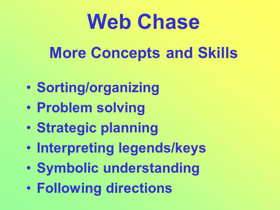 Web Chase More Concepts and Skills Sorting/organizing Problem solving Strategic planning Interpreting legends/keys Symbolic understanding Following directions