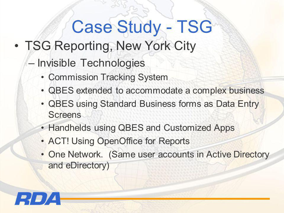 Case Study - TSG TSG Reporting, New York City –Invisible Technologies Commission Tracking System QBES extended to accommodate a complex business QBES