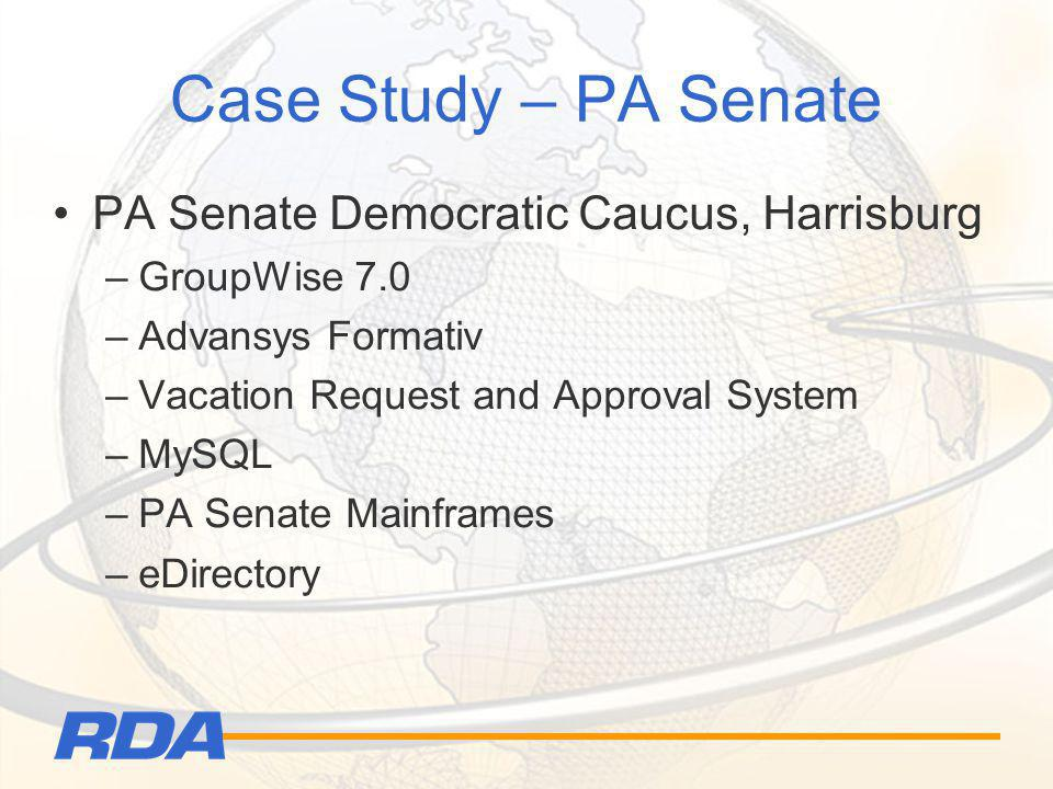 Case Study – PA Senate PA Senate Democratic Caucus, Harrisburg –GroupWise 7.0 –Advansys Formativ –Vacation Request and Approval System –MySQL –PA Sena