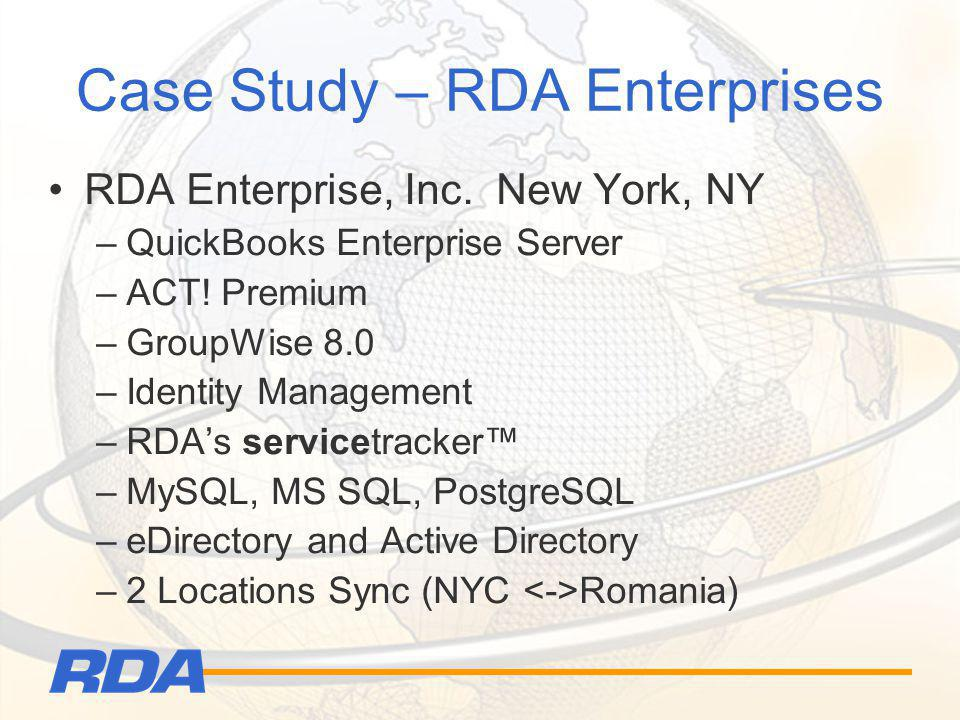 Case Study – RDA Enterprises RDA Enterprise, Inc. New York, NY –QuickBooks Enterprise Server –ACT! Premium –GroupWise 8.0 –Identity Management –RDAs s