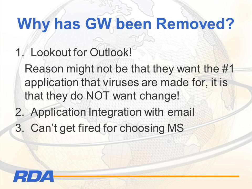 Why has GW been Removed? 1. Lookout for Outlook! Reason might not be that they want the #1 application that viruses are made for, it is that they do N