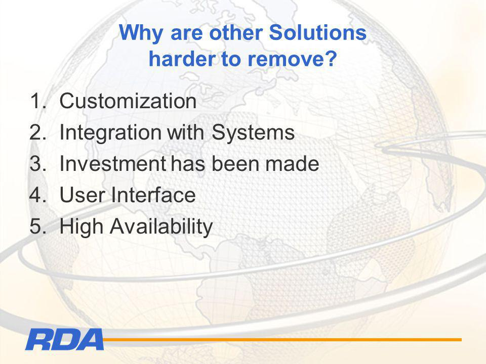 Why are other Solutions harder to remove? 1. Customization 2. Integration with Systems 3. Investment has been made 4. User Interface 5. High Availabil