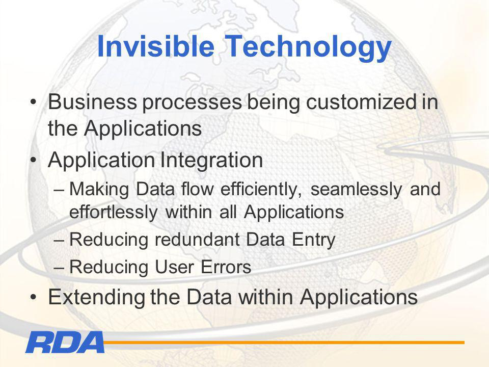 Invisible Technology Business processes being customized in the Applications Application Integration –Making Data flow efficiently, seamlessly and eff