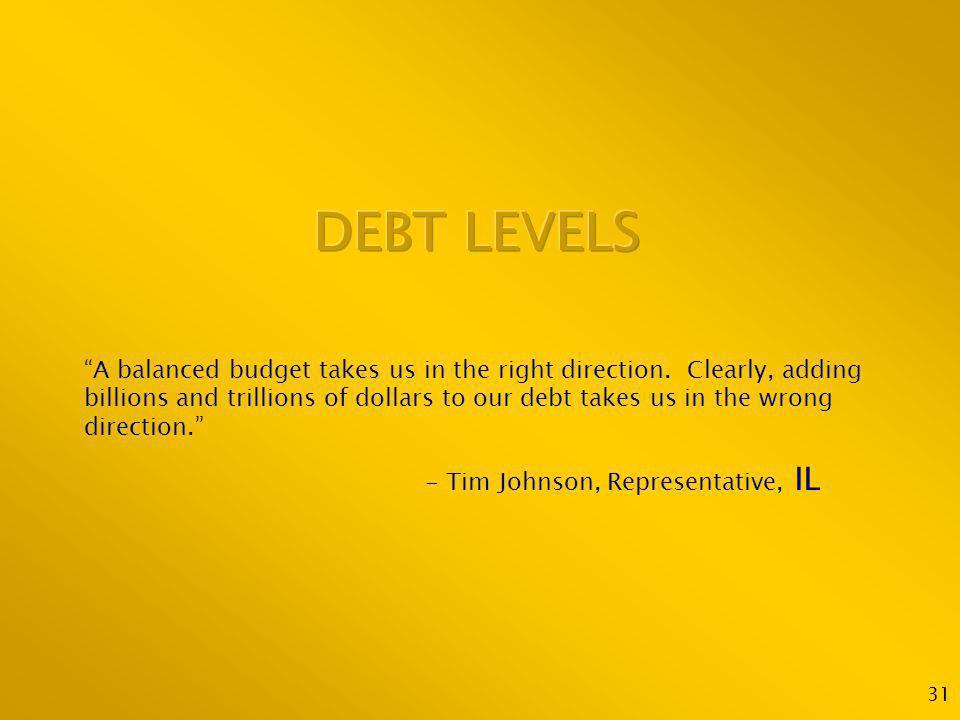 31 A balanced budget takes us in the right direction. Clearly, adding billions and trillions of dollars to our debt takes us in the wrong direction. -