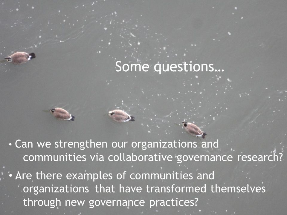 Some questions… Can we strengthen our organizations and communities via collaborative governance research? Are there examples of communities and organ