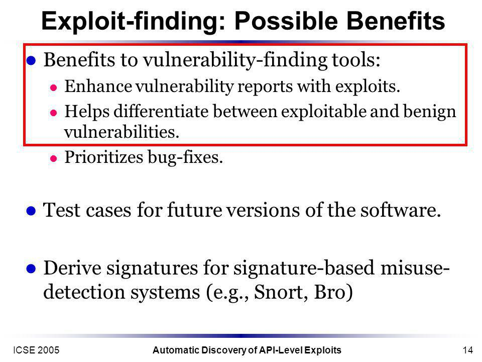 ICSE 2005Automatic Discovery of API-Level Exploits14 Exploit-finding: Possible Benefits Benefits to vulnerability-finding tools: Enhance vulnerability reports with exploits.