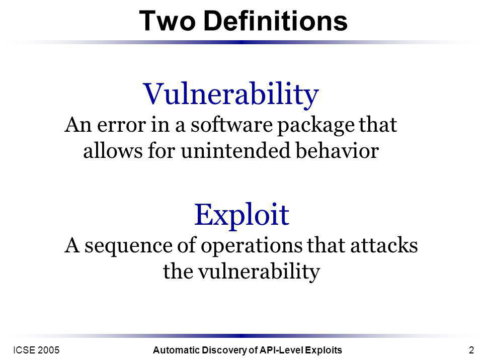 ICSE 2005Automatic Discovery of API-Level Exploits2 Two Definitions Exploit A sequence of operations that attacks the vulnerability Vulnerability An error in a software package that allows for unintended behavior