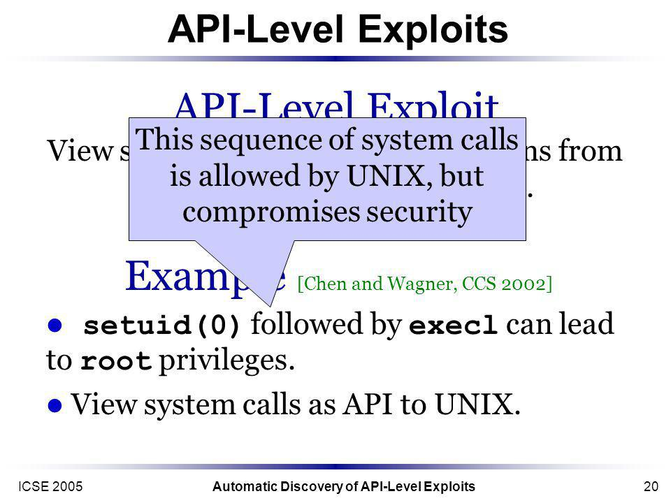 ICSE 2005Automatic Discovery of API-Level Exploits20 API-Level Exploits Example [Chen and Wagner, CCS 2002] setuid(0) followed by execl can lead to root privileges.