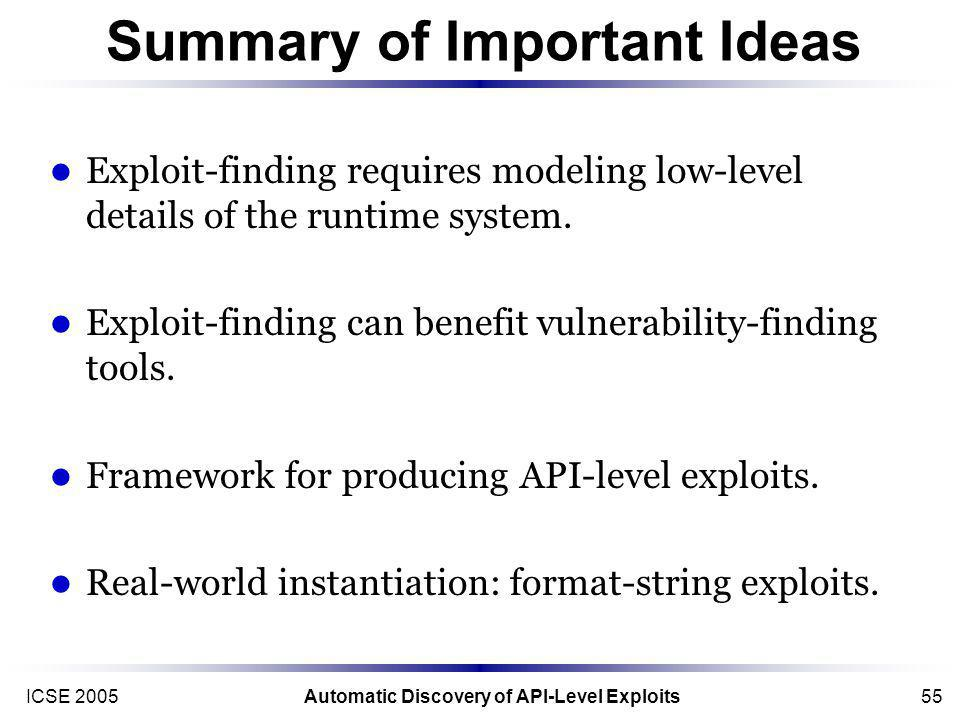 ICSE 2005Automatic Discovery of API-Level Exploits55 Summary of Important Ideas Exploit-finding requires modeling low-level details of the runtime system.