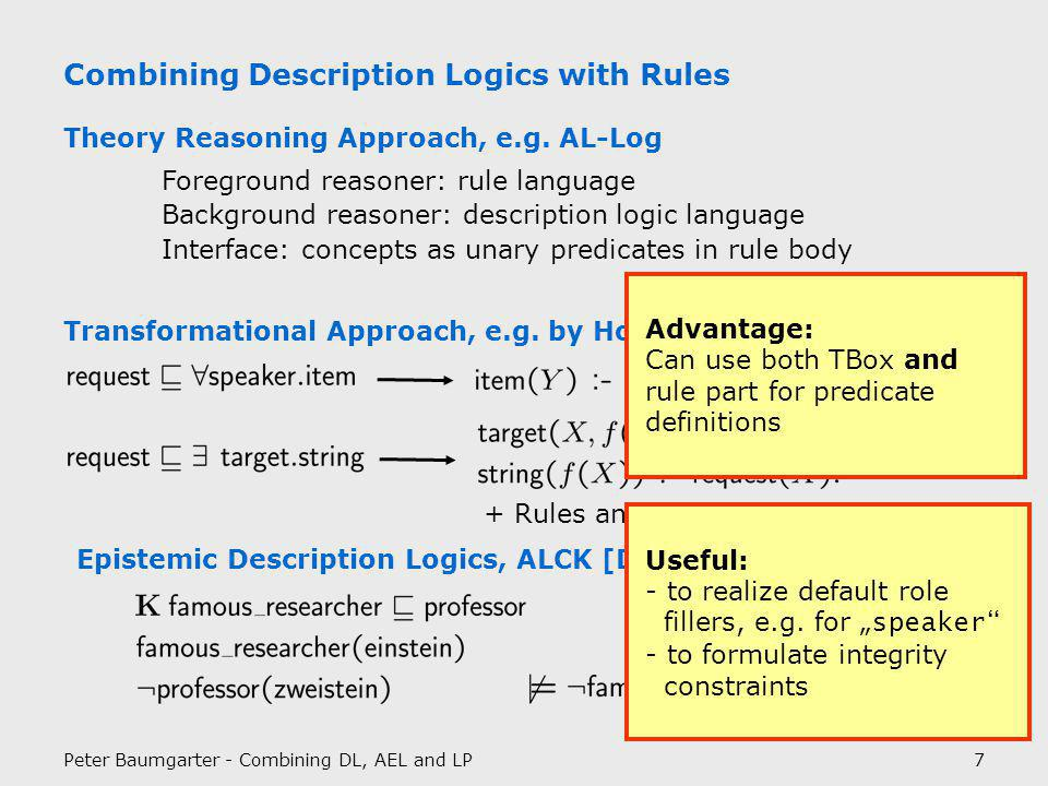 Peter Baumgarter - Combining DL, AEL and LP8 Autoepistemic Logic at Work Reports that say that something hasn t happened are always interesting to me, because as we know, there are known knowns, there are things we know we know.
