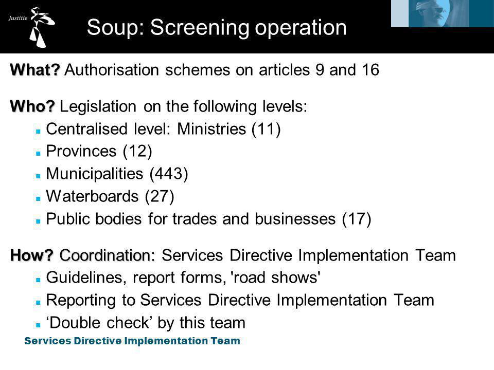 Services Directive Implementation Team Soup: Screening operation Alas: no clear cut results yet.