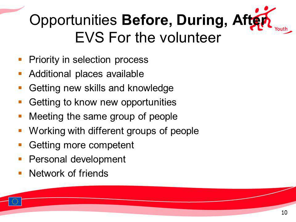 Opportunities Before, During, After EVS For the volunteer Priority in selection process Additional places available Getting new skills and knowledge G