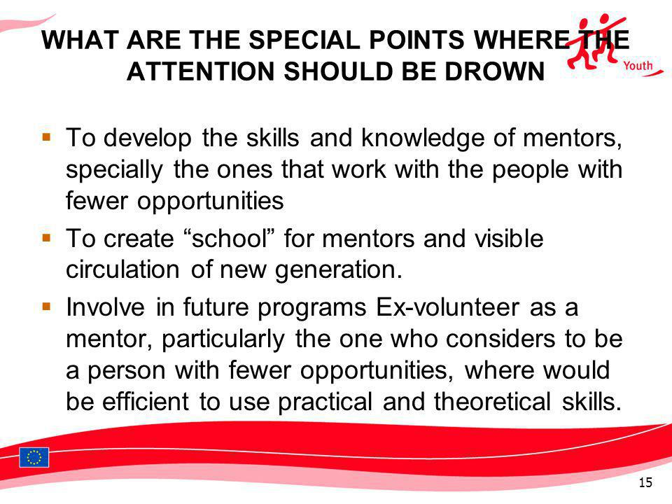 WHAT ARE THE SPECIAL POINTS WHERE THE ATTENTION SHOULD BE DROWN To develop the skills and knowledge of mentors, specially the ones that work with the people with fewer opportunities To create school for mentors and visible circulation of new generation.