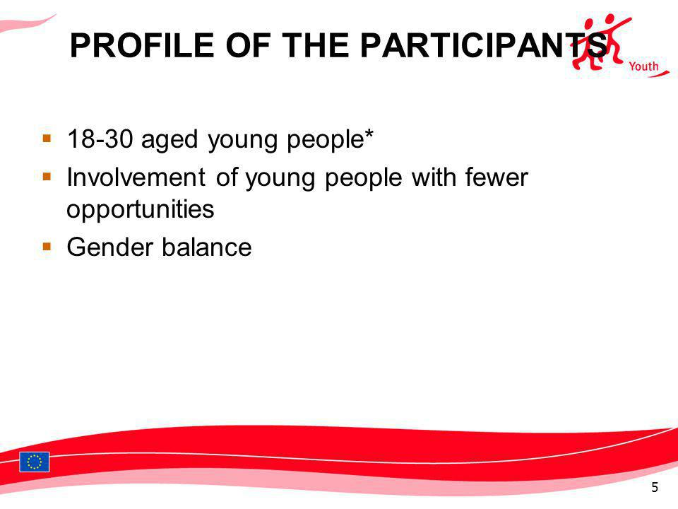 PROFILE OF THE PARTICIPANTS 18-30 aged young people* Involvement of young people with fewer opportunities Gender balance 5
