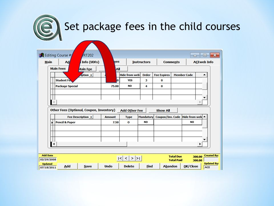 Set package fees in the child courses