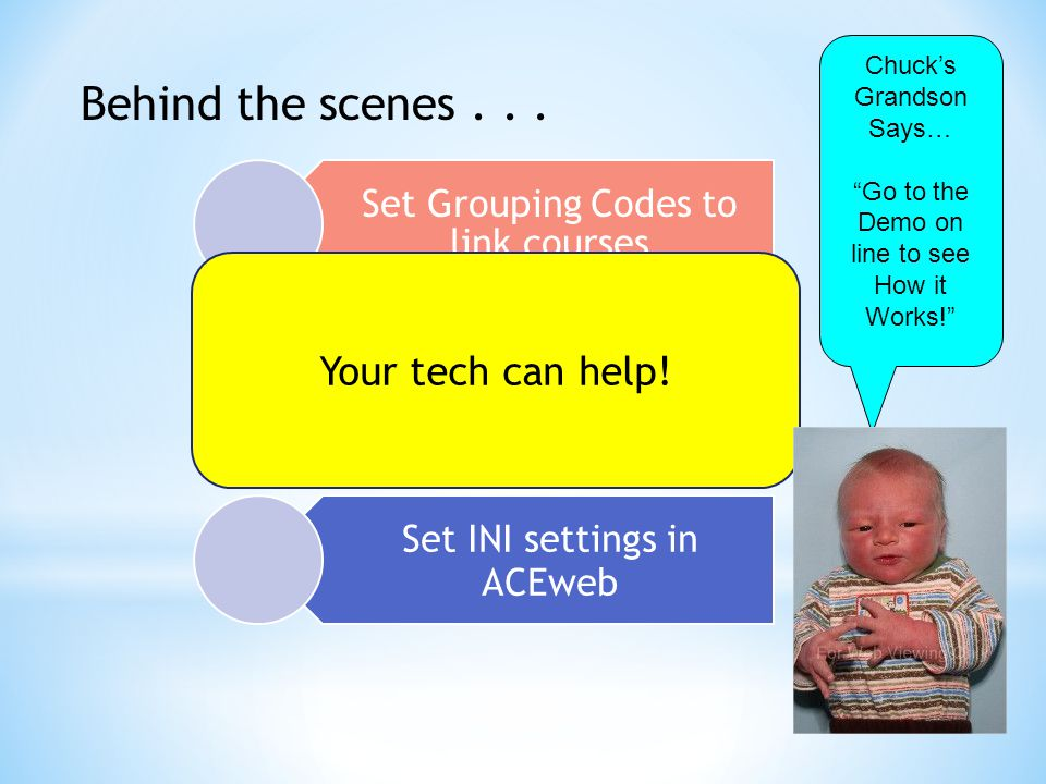 Behind the scenes... Set Grouping Codes to link courses Set a fee description to indicate special pricing Set INI settings in ACEweb Your tech can hel