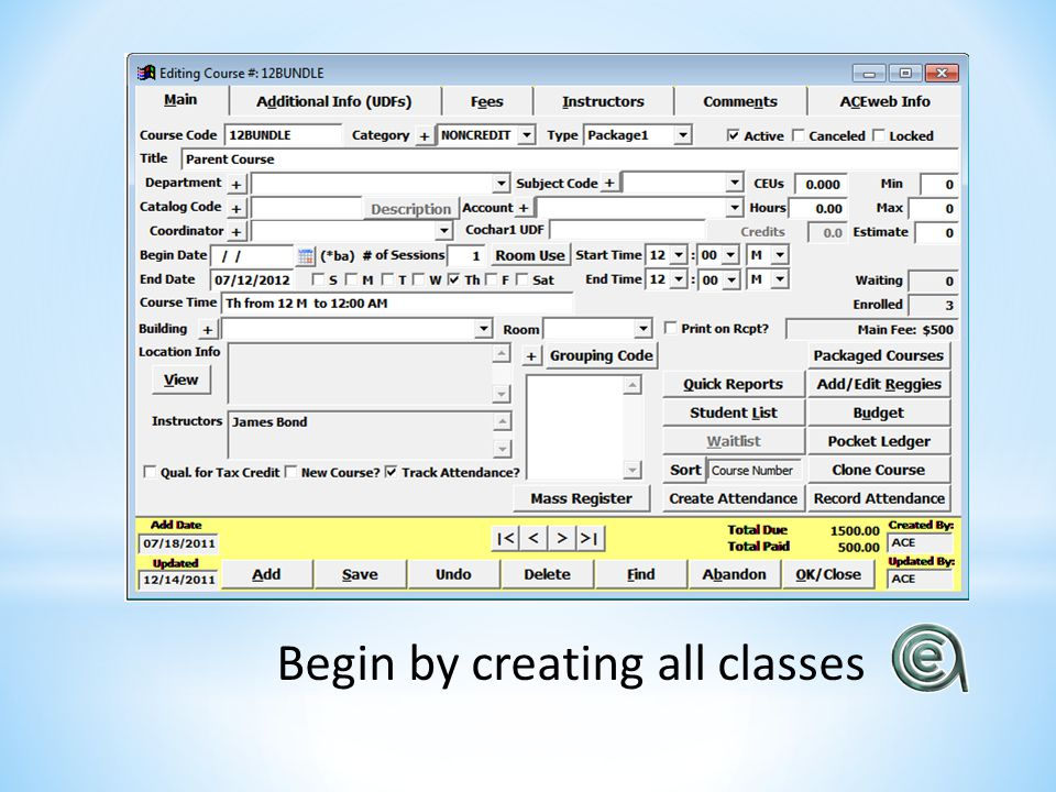 Begin by creating all classes
