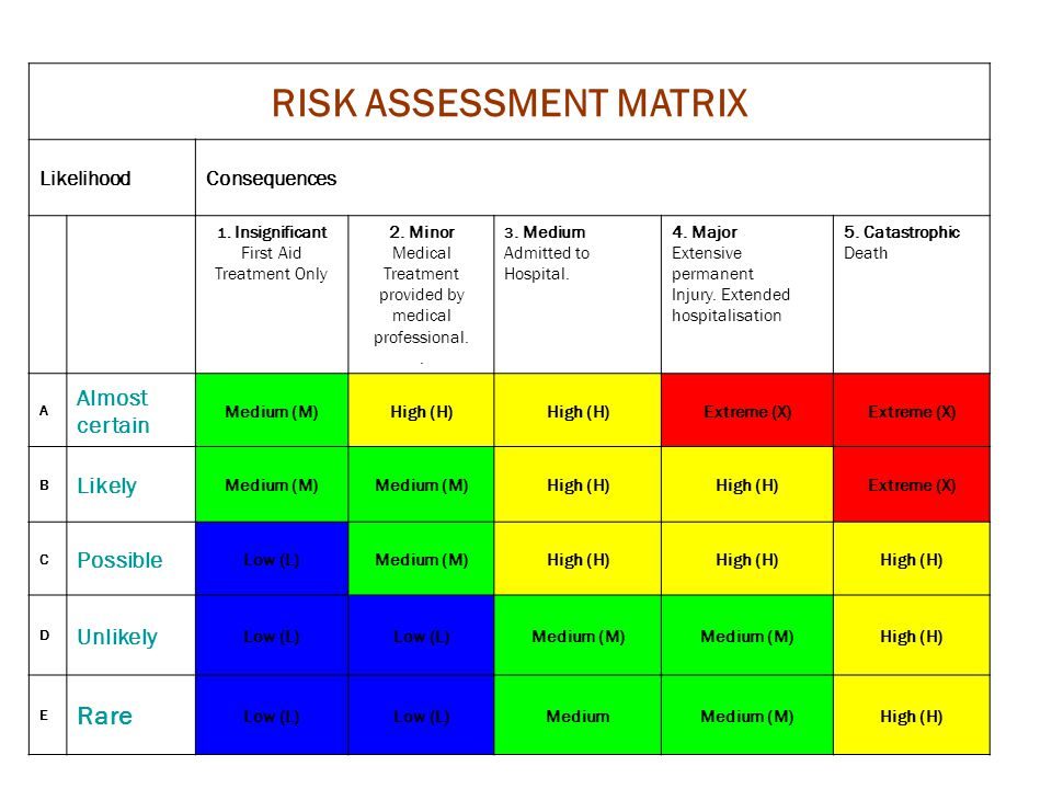 RISK ASSESSMENT MATRIX LikelihoodConsequences 1. Insignificant First Aid Treatment Only 2. Minor Medical Treatment provided by medical professional..