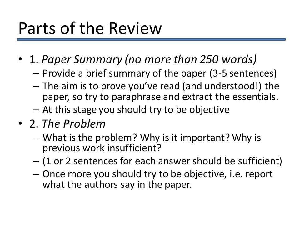 Parts of the Review 1.