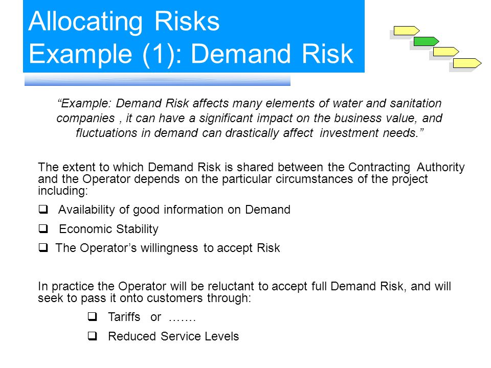 Allocating Risks Example (1): Demand Risk Example: Demand Risk affects many elements of water and sanitation companies, it can have a significant impact on the business value, and fluctuations in demand can drastically affect investment needs.